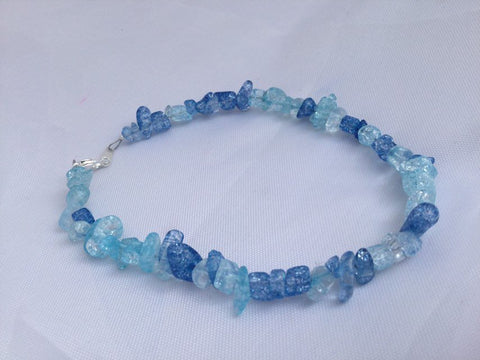 Blue Crackle Anklet