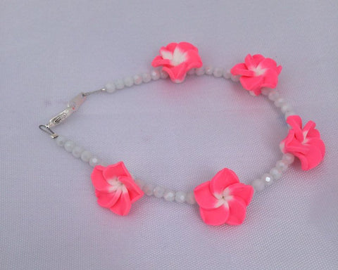 Pink and White Floral Bracelet