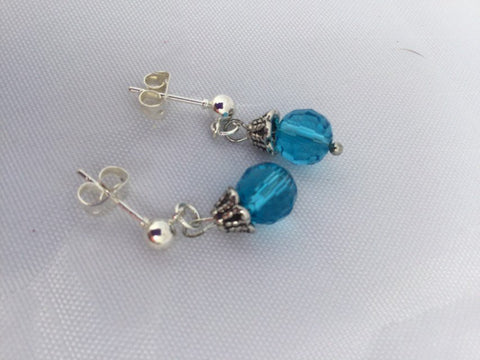 Blue Beaded Dangle Stud Earrings