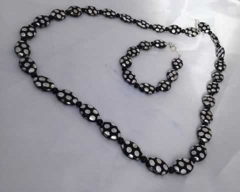 Black and Silver Polka Dot Jewelry Set