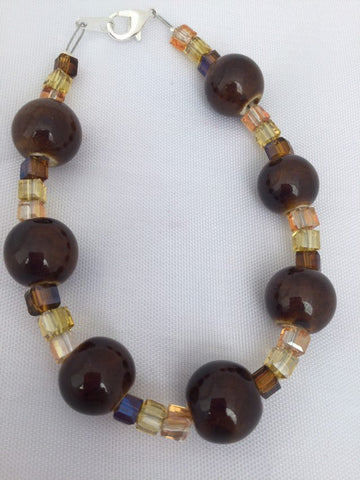 Ceramic and Glass Bead Bracelet