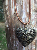 Brass Heart Locket Necklace on Leather Cord