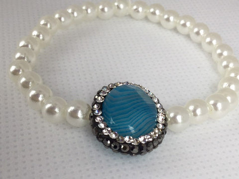 Jeweled Pearl Bracelet