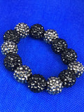 Silver and Black Beaded Bracelet