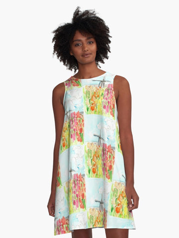 Patchwork Style 'Holland in Spring' A-Line Swing Dress