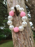 Pearls and Pink Chunky Beaded Bracelet
