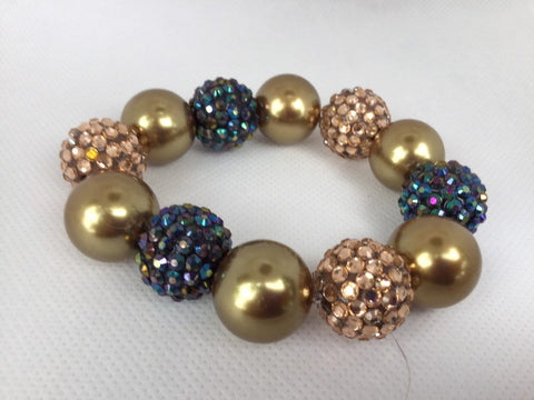 Gold and purple chunky beaded bracelet