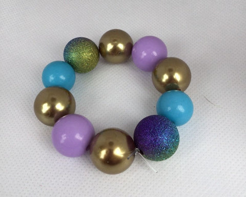 Blue, Purple, Green, & Gold Chunky Beaded Bracelet