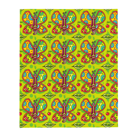 Green Apple Butterflies Throw Blanket