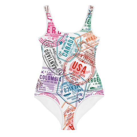 Passport Stamp Youth Swimsuit