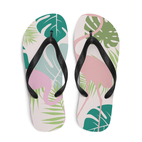 Pastel Flamingo and Leaves Flip-Flops