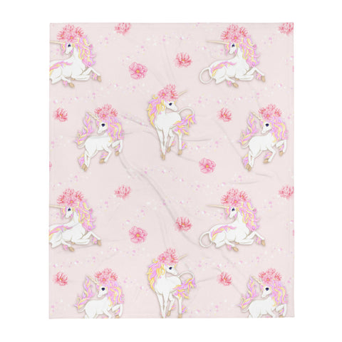 Pink Flowers and Unicorns Throw Blanket