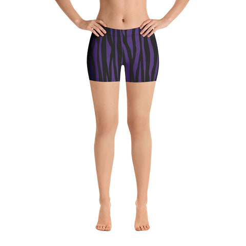 Deep purple zebra print yoga shorts