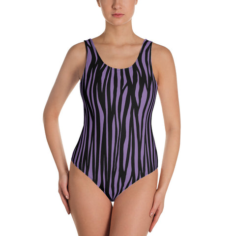 Purple Zebra Print One-Piece Swimsuit