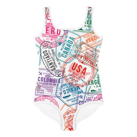 Passport Stamp Kids Swimsuit
