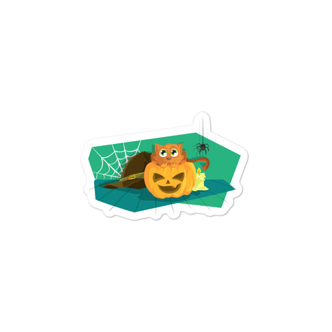 Halloween kitty bubble-free stickers