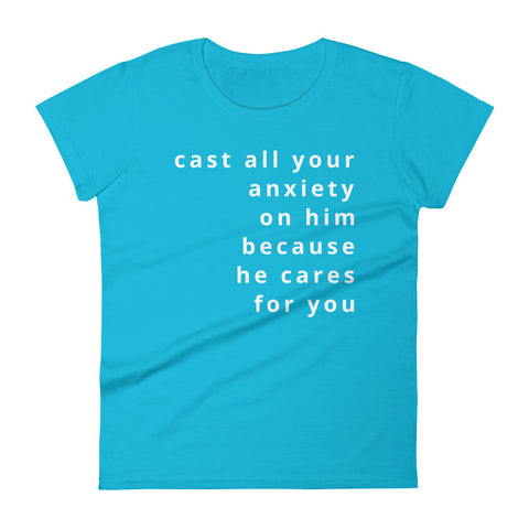 1 Peter 5:7 women's short sleeve t-shirt