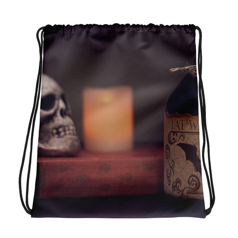 Skull and candle drawstring bag