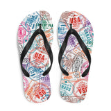 Passport Stamp Flip-Flops