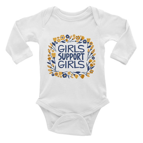 Girls Support Girls Infant Long Sleeve Bodysuit