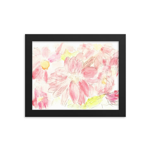 Abstract Red Daisies framed poster