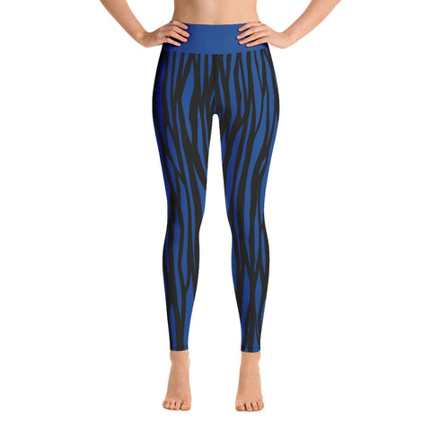Blue Zebra Print Yoga Leggings