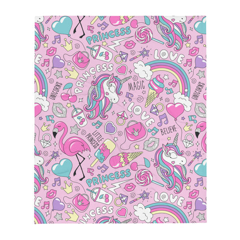 Princess Love Unicorn Magic Throw Blanket