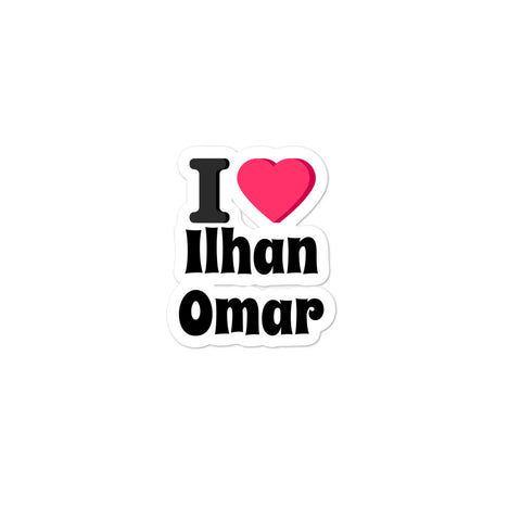 I heart Ilhan Omar bubble-free stickers