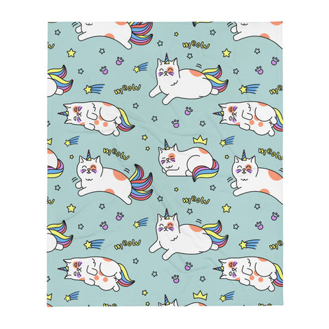 Caticorn Throw Blanket