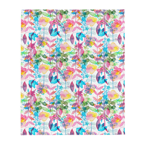 Watercolor Floral Throw Blanket