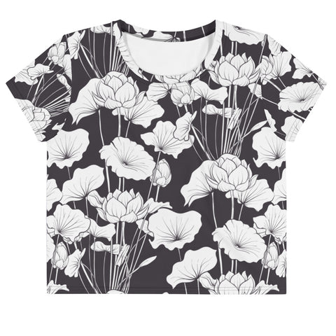 Black and White Floral Print Crop Tee