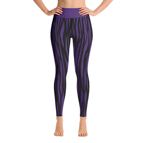 Deep Purple Zebra Print Yoga Leggings