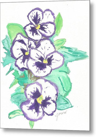 Purple Pansy Power - Metal Print