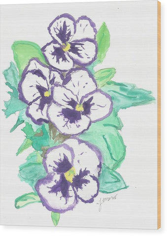 Purple Pansy Power - Wood Print