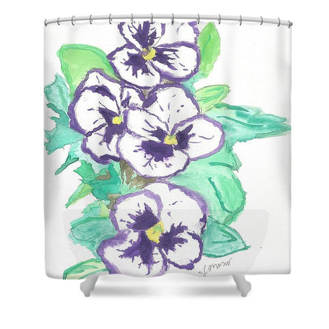 Purple Pansy Power - Shower Curtain