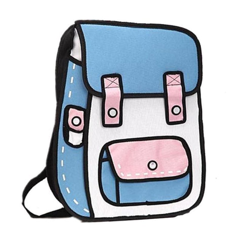 90e3fe471107 2D Cartoon Backpack Student-Style - Blue And Pink - Bag