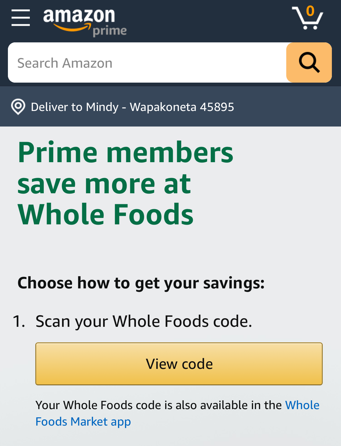 Amazon Whole Foods View Code Page