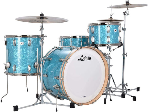 Ludwig Classic Maple Fab 22 3-piece Shell Pack - Glacier Blue Pearl - Nickel Hardware