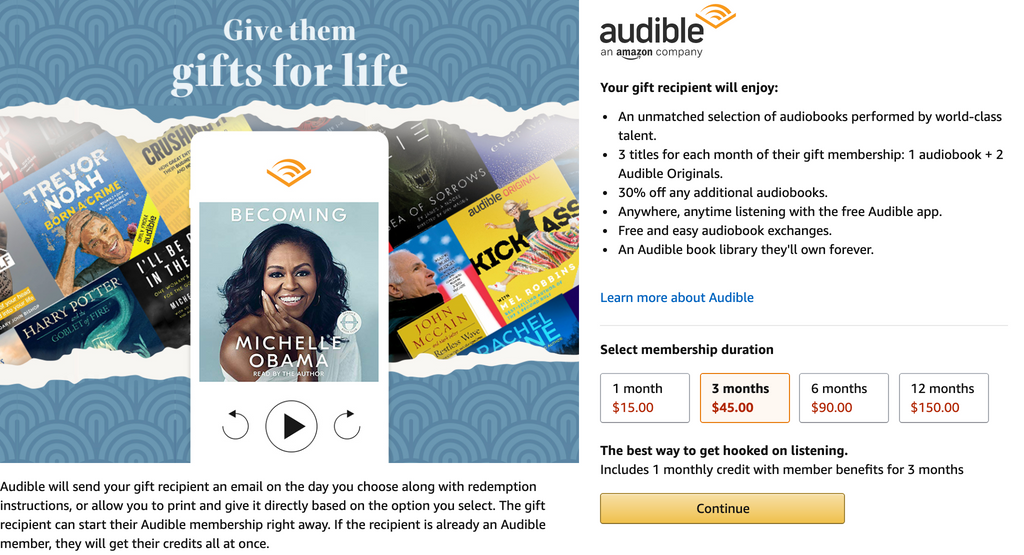 gift audible credits