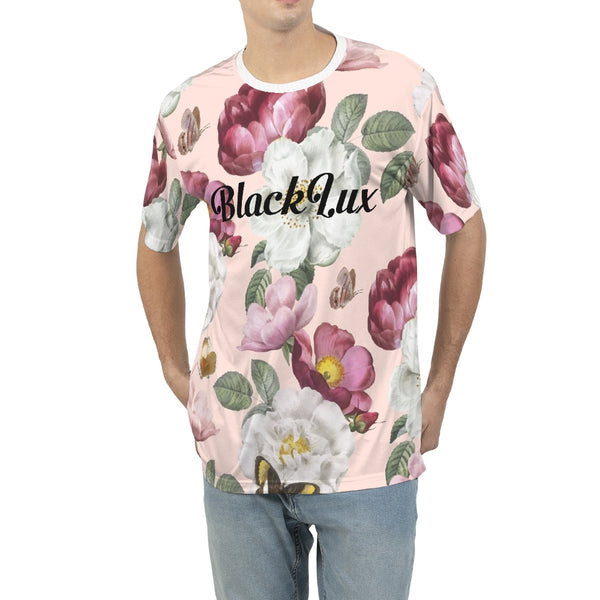 Peach Floral Men's Tee,Apparel- BLACKLUX