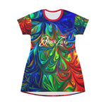 Vibrancy T-Shirt Dress,All Over Prints- BLACKLUX