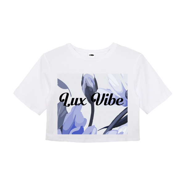 LUX BLUE FLORAL WOMEN'S CROP TOP,Apparel- BLACKLUX