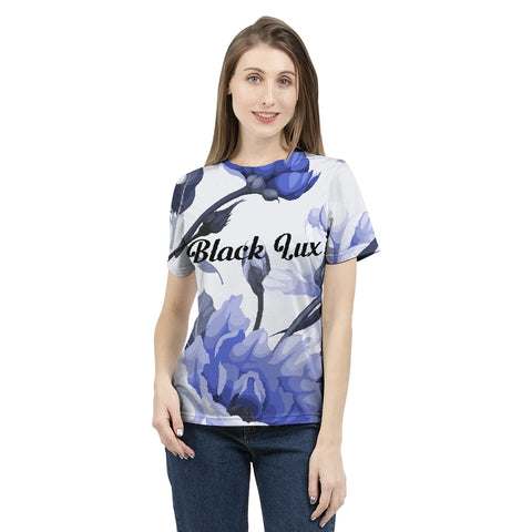 LUX BLUE FLORAL WOMEN'S TEE,Apparel- BLACKLUX