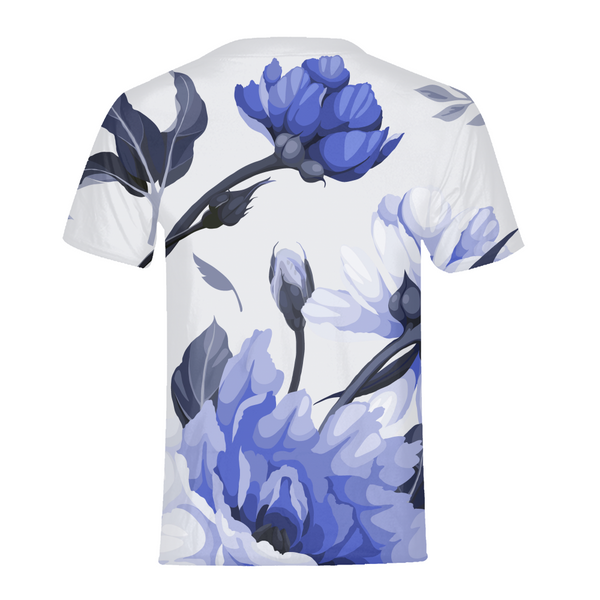 LUX BLUE FLORAL MEN'S TEE,Apparel- BLACKLUX