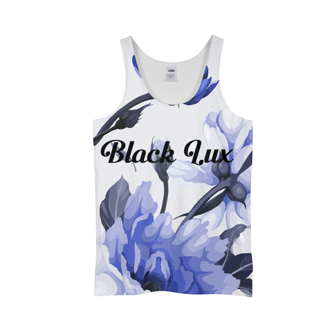 LUX BLUE FLORAL MEN'S TANK,Apparel- BLACKLUX