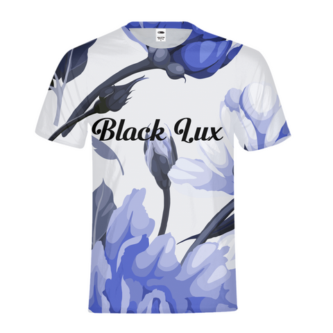 LUX BLUE FLORAL KIDS TEE,Apparel- BLACKLUX