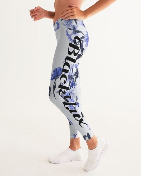 LUX BLUE FLORAL WOMEN'S YOGA PANT,Apparel- BLACKLUX