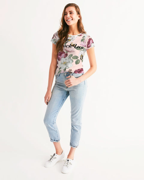 Peach Floral Women's Tee - BLACKLUX