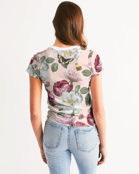 Peach Floral Women's Tee,Apparel- BLACKLUX