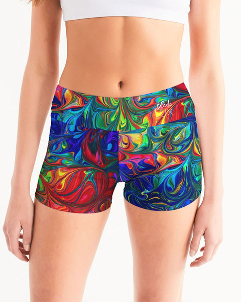 Vibrancy Women's Mid-Rise Yoga Shorts,Apparel- BLACKLUX